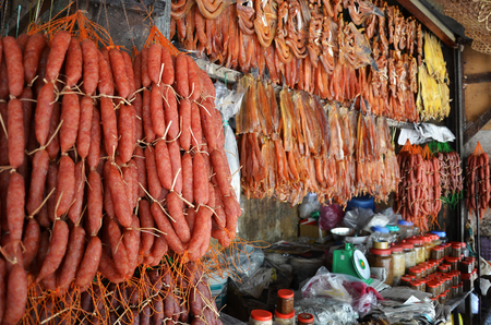 Food sold in the market of Siem Rip in Cambodia. Living conditions in the area are difficult.