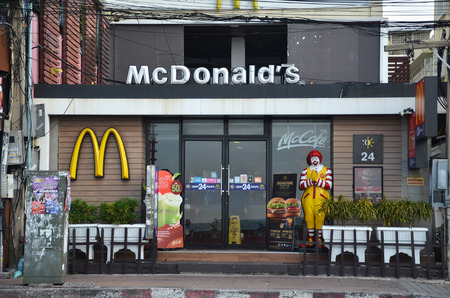 mcdonald: PATTAYA, THAILAND - 19 NOV, 2016: Ronald McDonald character near McDonalds restaurant. Ronald McDonald is a clown character used as the primary mascot of the McDonalds restaurant chain.