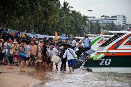 PATTAYA, THAILAND - 22 NOV, 2016: Speed boat parking on Pattaya bay waiting tourist for Koh Larn Island, Pattaya city famous tourist attraction of Thailand.
