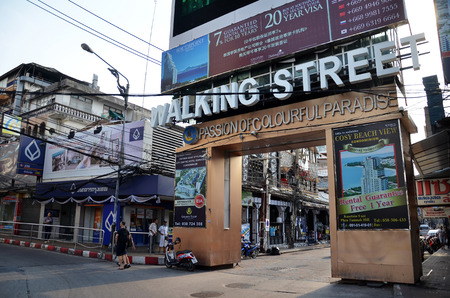 PATTAYA, THAILAND - 20 NOV, 2016: Unidentified people on a Walking Street in Pattaya. Walking Street road is a favorite tourist attraction. Night Place famous tourists visited Thailand.