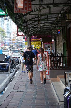 brothel: PATTAYA, THAILAND - 19 NOV, 2016: Viiew of Street in Pattaya.Thailand