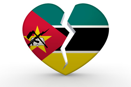 Broken white heart shape with Mozambique flag, 3D rendering Stock Photo