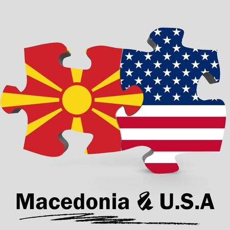 USA and Macedonia Flags in puzzle isolated on white background, 3D rendering