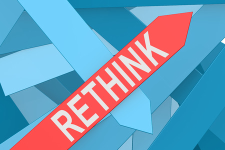 reconsideration: Rethink word on red arrow pointing upward, 3d rendering
