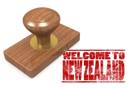 chops: Red rubber stamp with welcome to New Zealand, 3D rendering