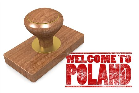 Red rubber stamp with welcome to Poland , 3D rendering