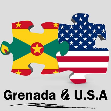 USA and Grenada Flags in puzzle isolated on white background, 3D rendering