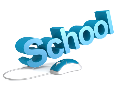 School word with blue mouse, 3D rendering