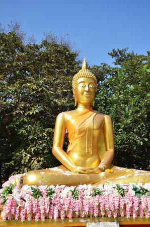 PATTAYA, THAILAND - 22 NOV, 2016: Buddha statue Buddhist temple on Phra Tmanak Hill, Khao Phra Bat Temple in Pattaya, Thailand Editorial