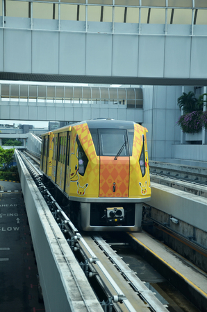 SINGAPORE - 18 NOV, 2016: The Changi Airport Skytrain at Singapore Changi Airport, Singapore Editorial