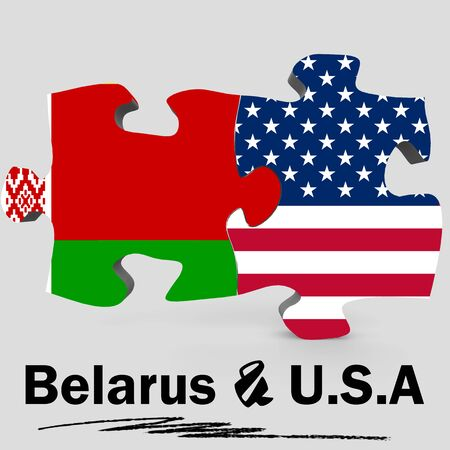 usa flags: USA and Belarus Flags in puzzle isolated on white background, 3D rendering