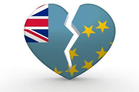 tuvalu: Broken white heart shape with Tuvalu flag, 3D rendering