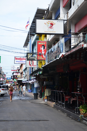 brothel: PATTAYA, THAILAND - 22 NOV, 2016: Signage in walking street, Beach road, South Pattaya, Chonburi province, Thailand.