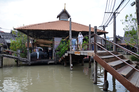 PATTAYA, THAILAND - 22 NOV, 2016: Travel and shopping in Pattaya Floating Market four regions where have traditional commercial boats and villagers do about traditional foods and souvenirs