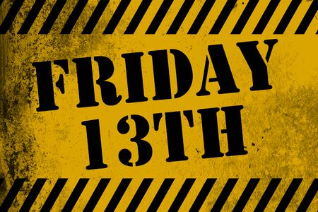 friday 13th: Friday 13th sign yellow with stripes, 3D rendering