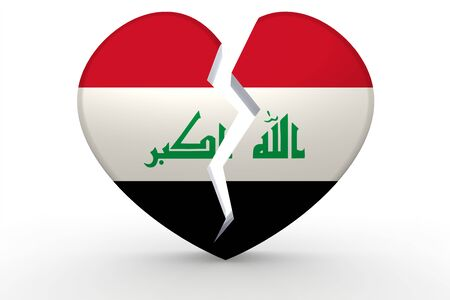 iraq conflict: Broken white heart shape with Iraq flag, 3D rendering