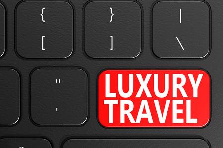 Luxusreise auf schwarzer Tastatur