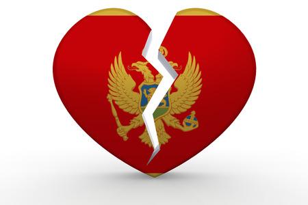 Broken white heart shape with Montenegro flag, 3D rendering Stock Photo