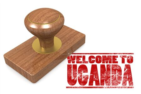 chops: Red rubber stamp with welcome to Uganda, 3D rendering