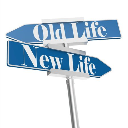 life change: Change directions with old life and new life signs, 3D rendering
