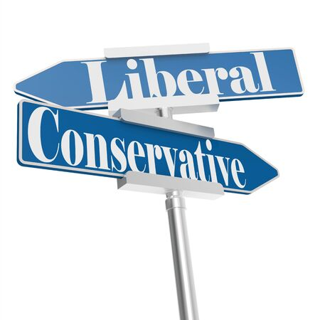 conservative: Change directions with conservative and liberal signs, 3D rendering
