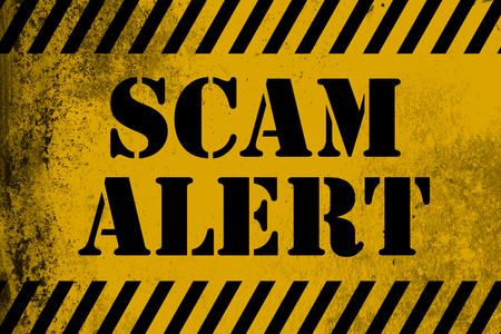 Scam alert  sign yellow with stripes, 3D rendering 版權商用圖片
