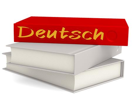 deutsch: Hard cover books with Deutsch word, 3D rendering