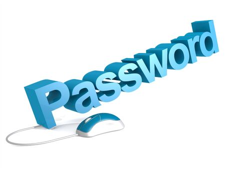 Password word with blue mouse, 3D rendering