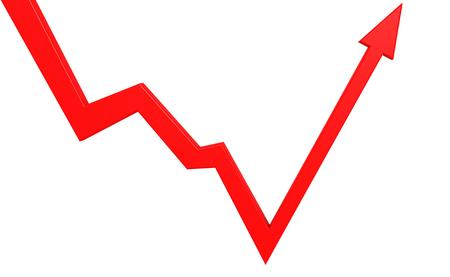 Flecha roja aislada de la despedida, representación 3D