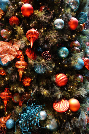 Decorations on a christmas tree. Holiday concept