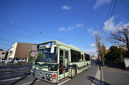 KYOTO, JAPAN - DECEMBER 01; 2016: Bus in Kyoto, Japan. The Kyoto City Buses are major mean of public transport in Kyoto. The buses have been operating since 1928