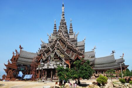 PATTAYA, THAILAND - 20 NOV, 2016: Sanctuary of Truth located in Pattaya. Sanctuary of Truth is an all-wood building filled with sculptures based on traditional Buddhist and Hindu motifs.