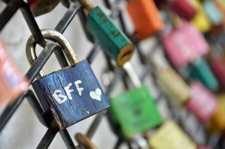 Best friend forever, BFF padlocks locked on iron chain