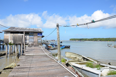 Scenic of Kukup village, a well known fishing village in Malaysia