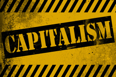 occupy wall street: Capitalism sign yellow with stripes, 3D rendering