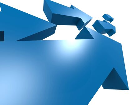 Group of blue arrows move upword, 3D rendering