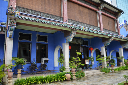 PENANG, MALAYSIA - NOV 26, 2016: Old historical Chinese influence mansion, Fatt Tze Mansion or Blue Mansion, famous oriental historical building in Georgetown, Penang, Malaysia