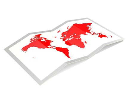 World map in red isolated, 3D rendering