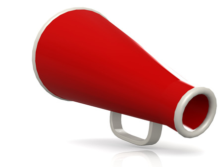 Isolated red megaphone on white, 3D rendering Stock Photo