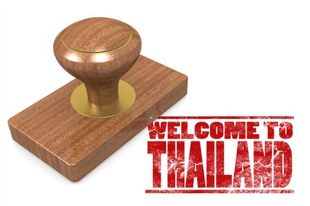Red rubber stamp with welcome to Thailand image with hi-res rendered artwork that could be used for any graphic design. Stock Photo