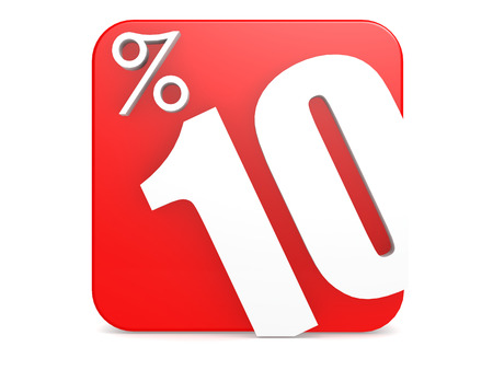 markdown: Red block with 10 percent, 3D rendering
