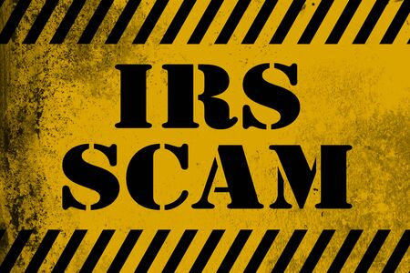 IRS scam sign yellow with stripes, 3D rendering Stock Photo