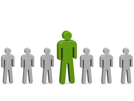 eyecatcher: Outstanding green man in the line, 3D rendering