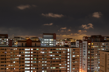 Singapore Public Housing, Urban Landscape night HDB flats