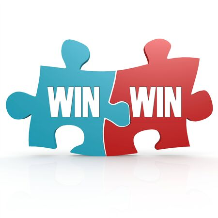 Blue and red with win win puzzle, 3D rendering  Stock Photo