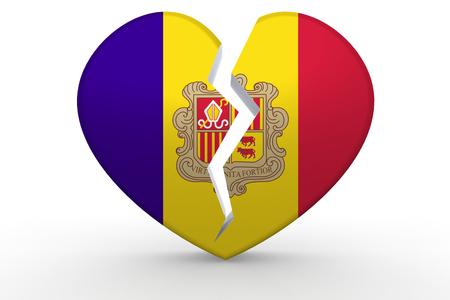 Broken white heart shape with Andorra flag, 3D rendering