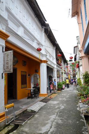 IPOH, MALAYSIA-27 DECEMBER, 2016: One of the famous heritage trail walk in the old town of Ipoh, Perak, Panglima Lane or the old name, Concubine Lane