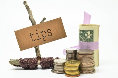 gratuity: Coins and money with tips label. Financial concept.