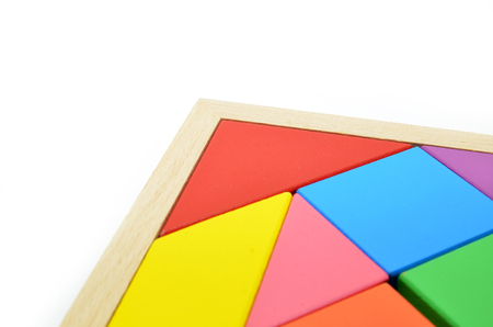 jigsaw tangram: Ancient Chinese art of tangram puzzles on white background Stock Photo