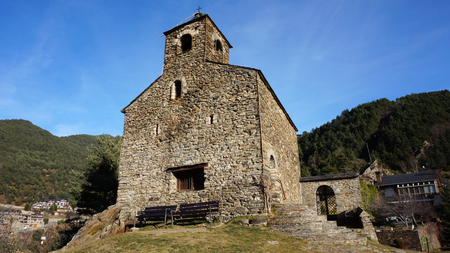 ANYOS, ANDORRA-FEB 25,2017: Sant Cristofol dAnyos is a church located in Anyos, La Massana Parish, Andorra. It is a heritage property registered in the Cultural Heritage of Andorra Editorial